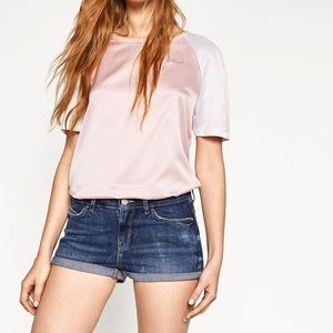 ZARA TRL denim mini shorts cutoff distressed size